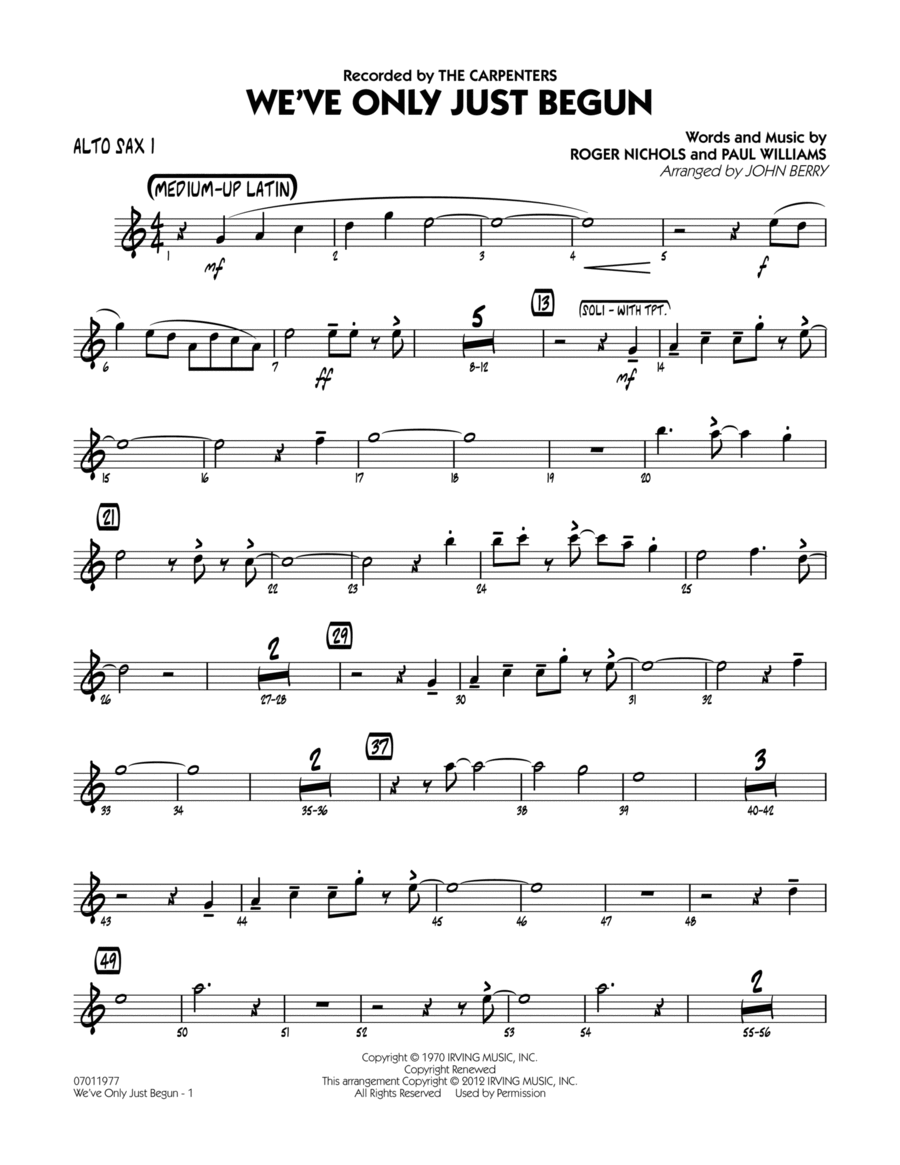 We've Only Just Begun - Alto Sax 1