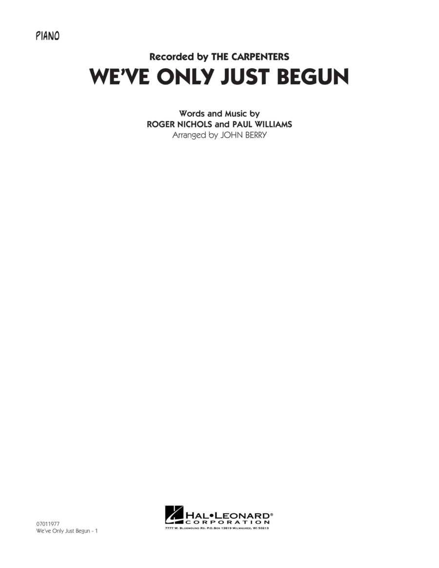 We've Only Just Begun - Piano