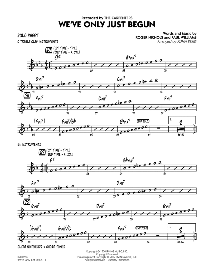 We've Only Just Begun - Solo Sheet