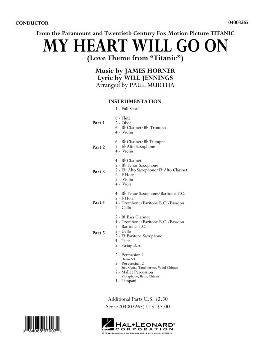 My Heart Will Go On (Love Theme from Titanic) - Full Score