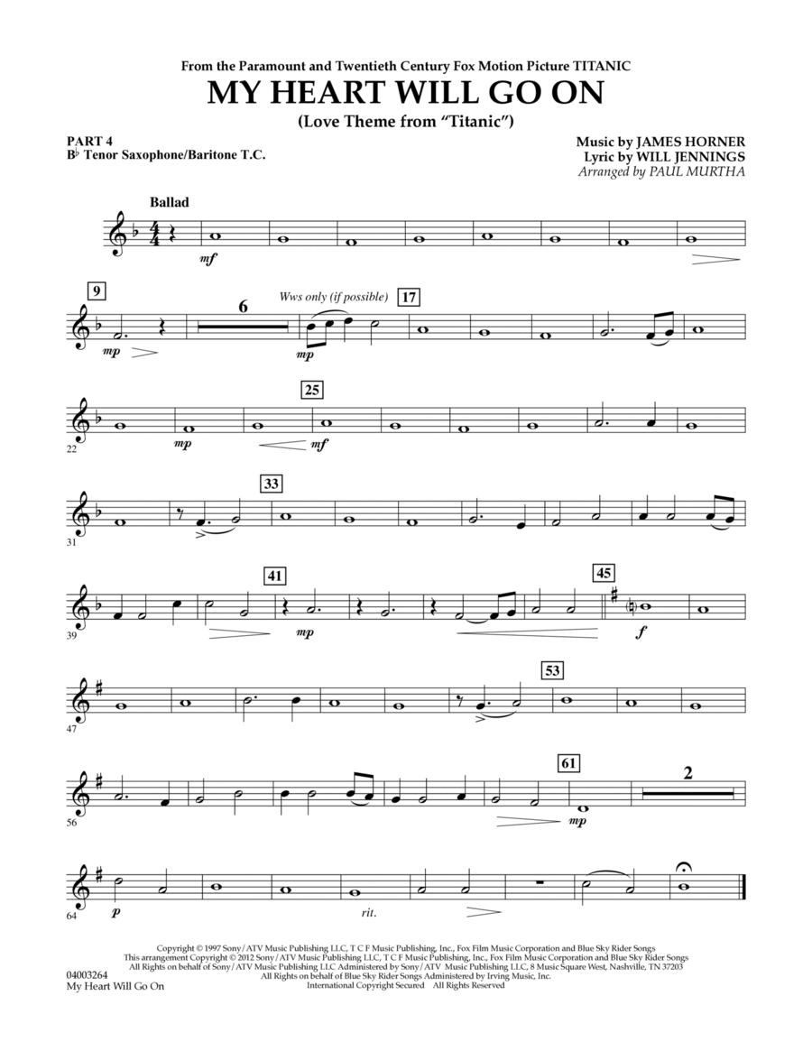 My Heart Will Go On (Love Theme from Titanic) - Pt.4 - Bb Tenor Sax/Bar. T.C.