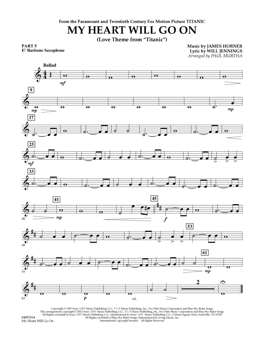 My Heart Will Go On (Love Theme from Titanic) - Pt.5 - Eb Baritone Saxophone