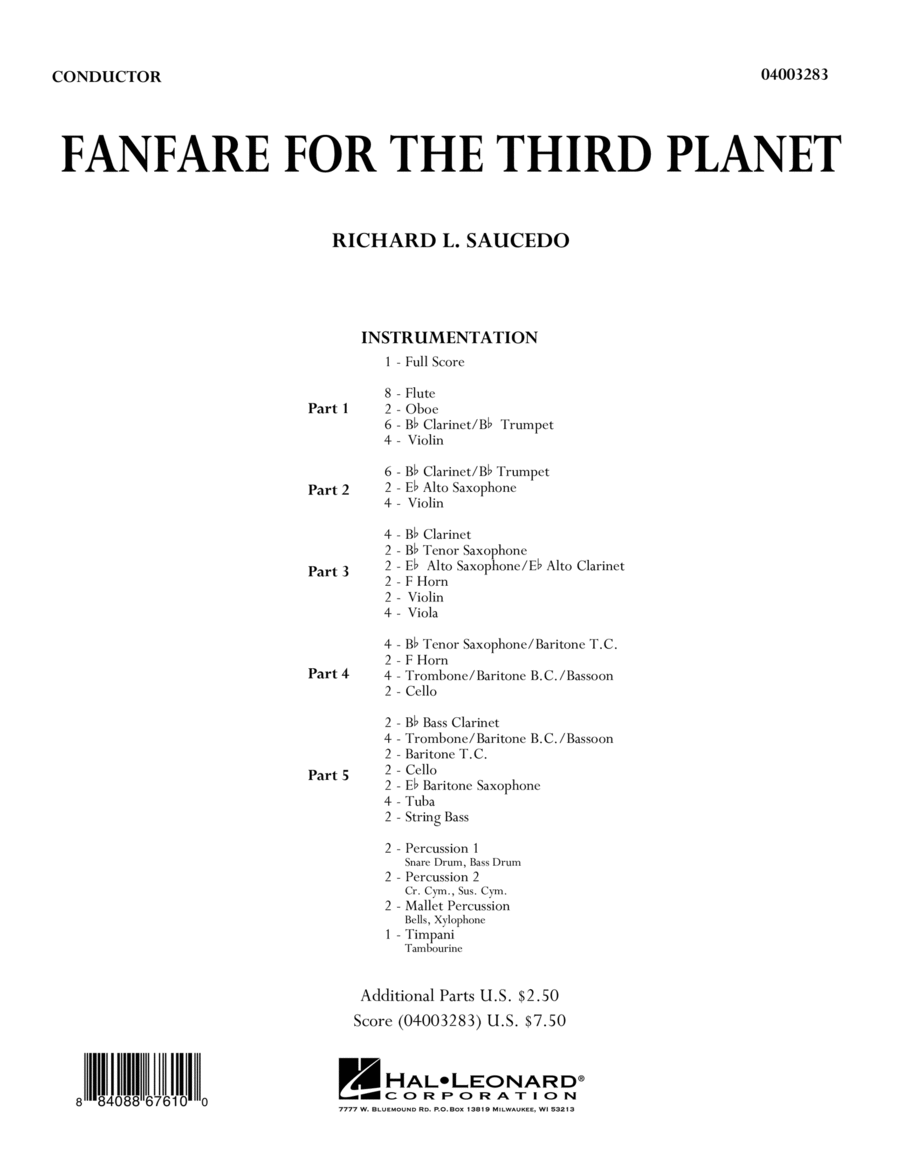 Fanfare For The Third Planet - Conductor Score (Full Score)