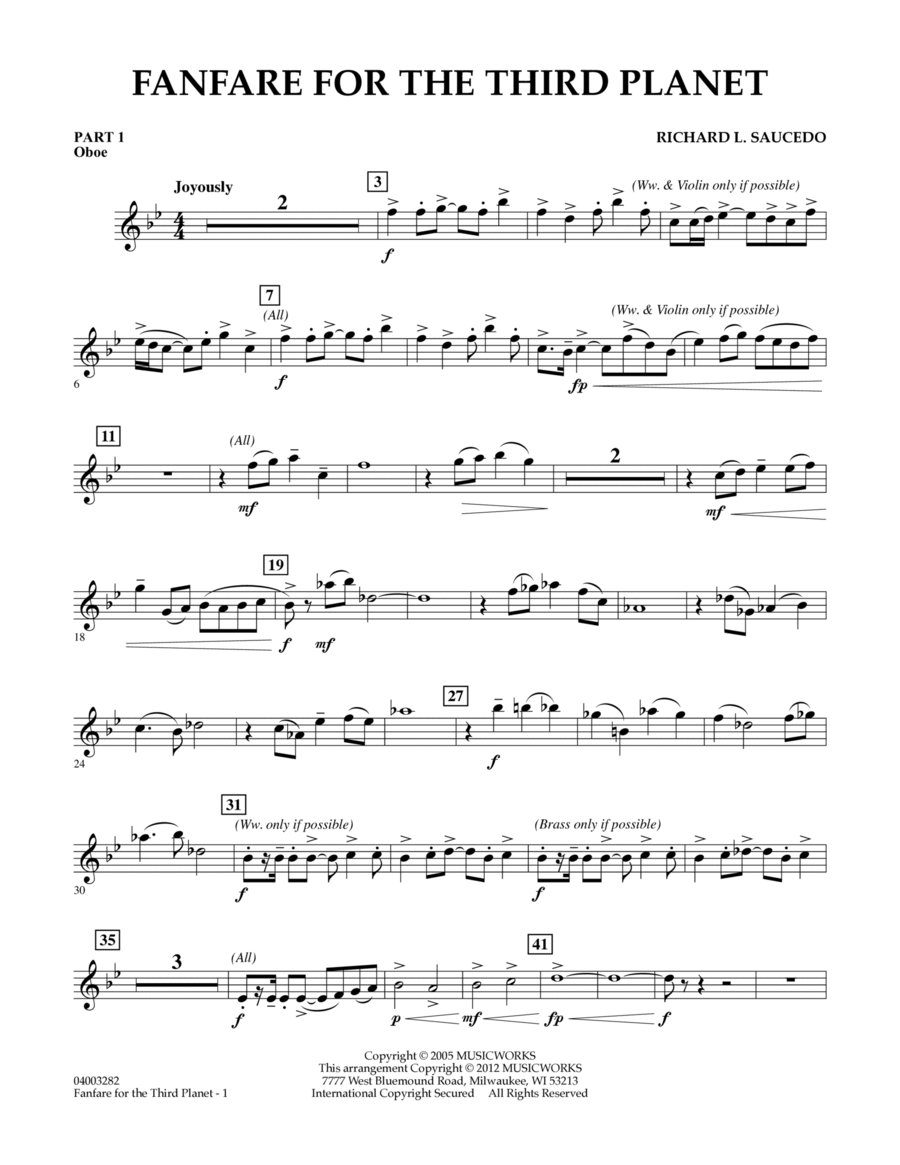 Fanfare For The Third Planet - Pt.1 - Oboe