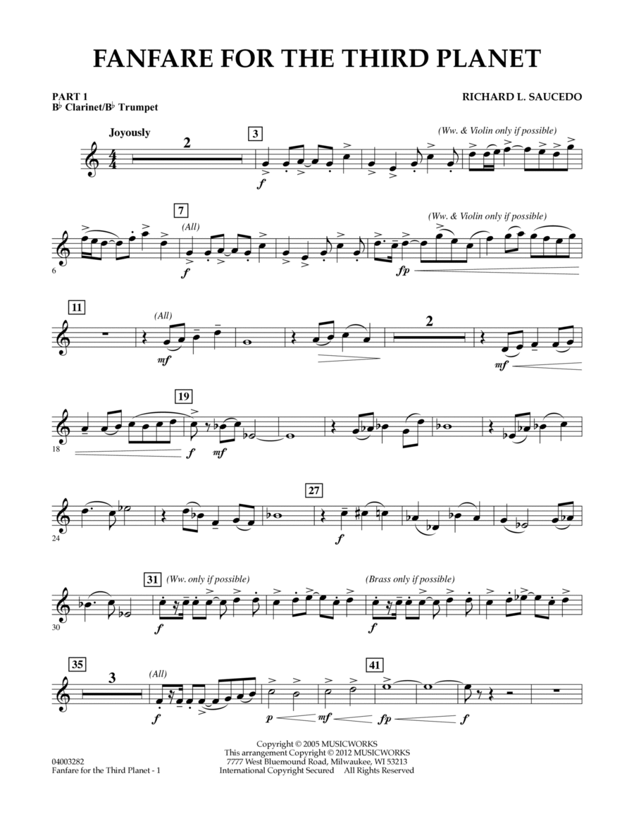 Fanfare For The Third Planet - Pt.1 - Bb Clarinet/Bb Trumpet