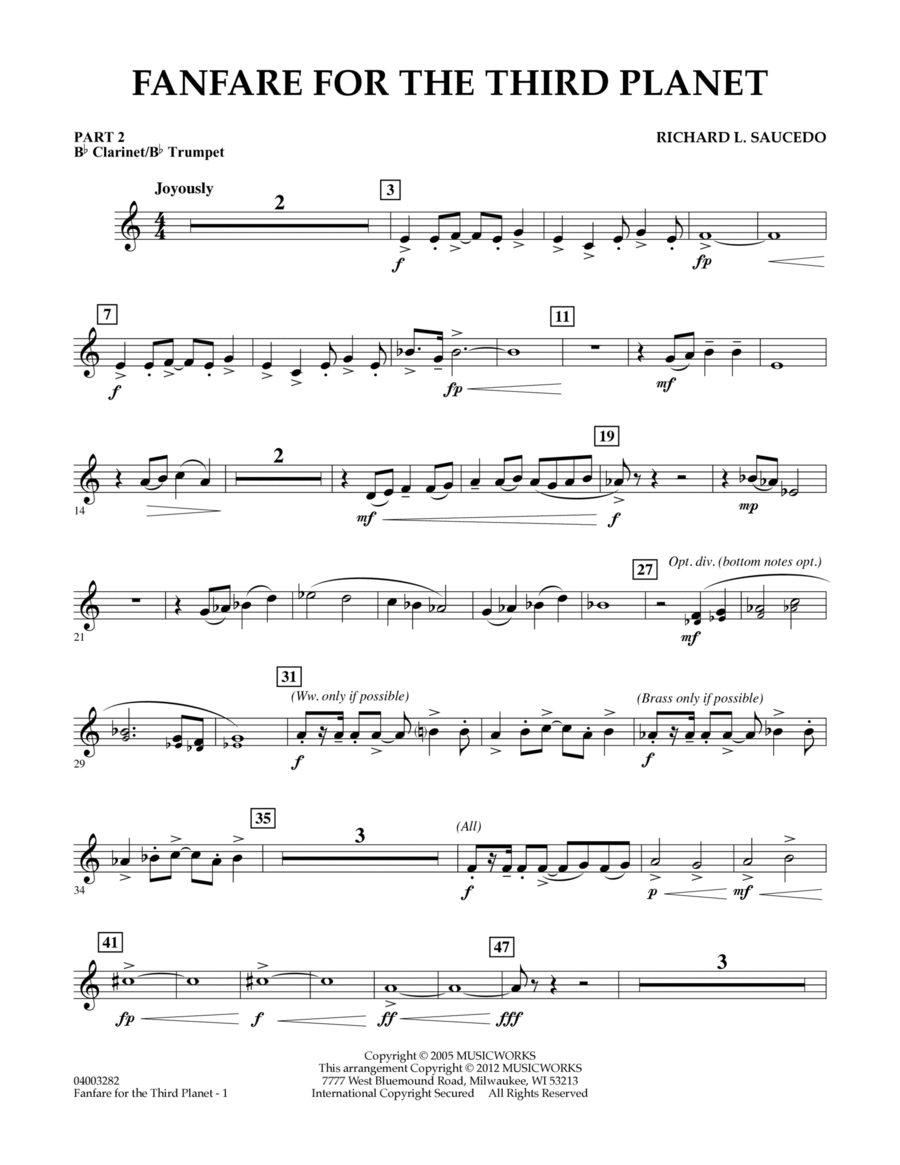 Fanfare For The Third Planet - Pt.2 - Bb Clarinet/Bb Trumpet