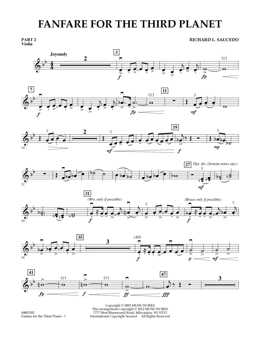 Fanfare For The Third Planet - Pt.2 - Violin