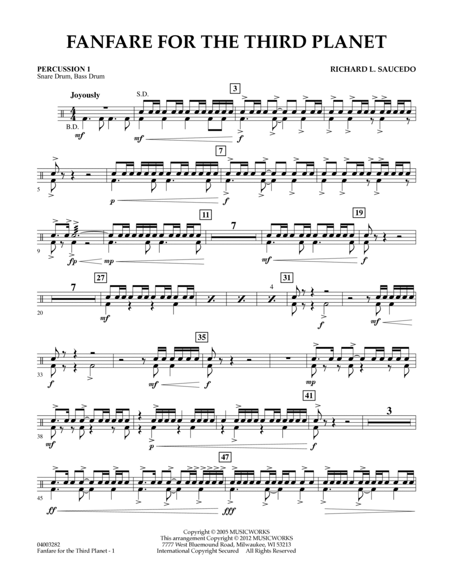 Fanfare For The Third Planet - Percussion 1