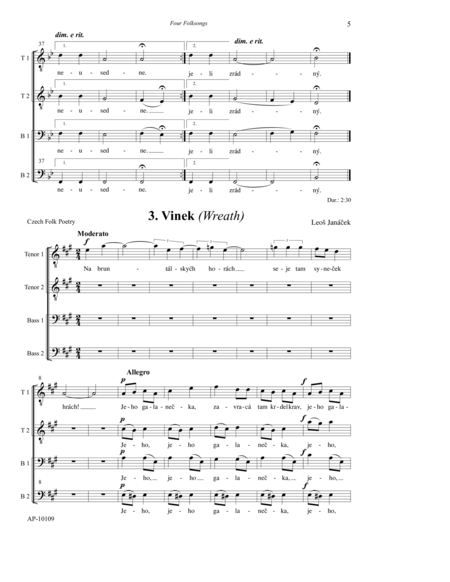 Four Folksongs for Men's Choir