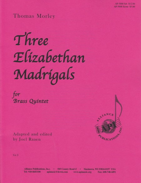 Three Elizabethan Madrigals for Brass Quintet