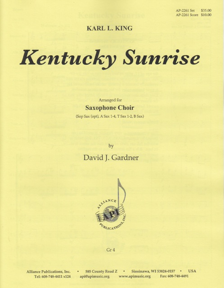 Kentucky Sunrise for Sax Choir