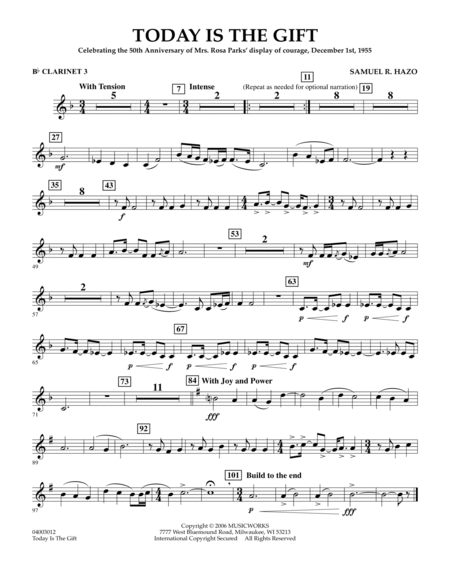 Today Is The Gift - Bb Clarinet 3