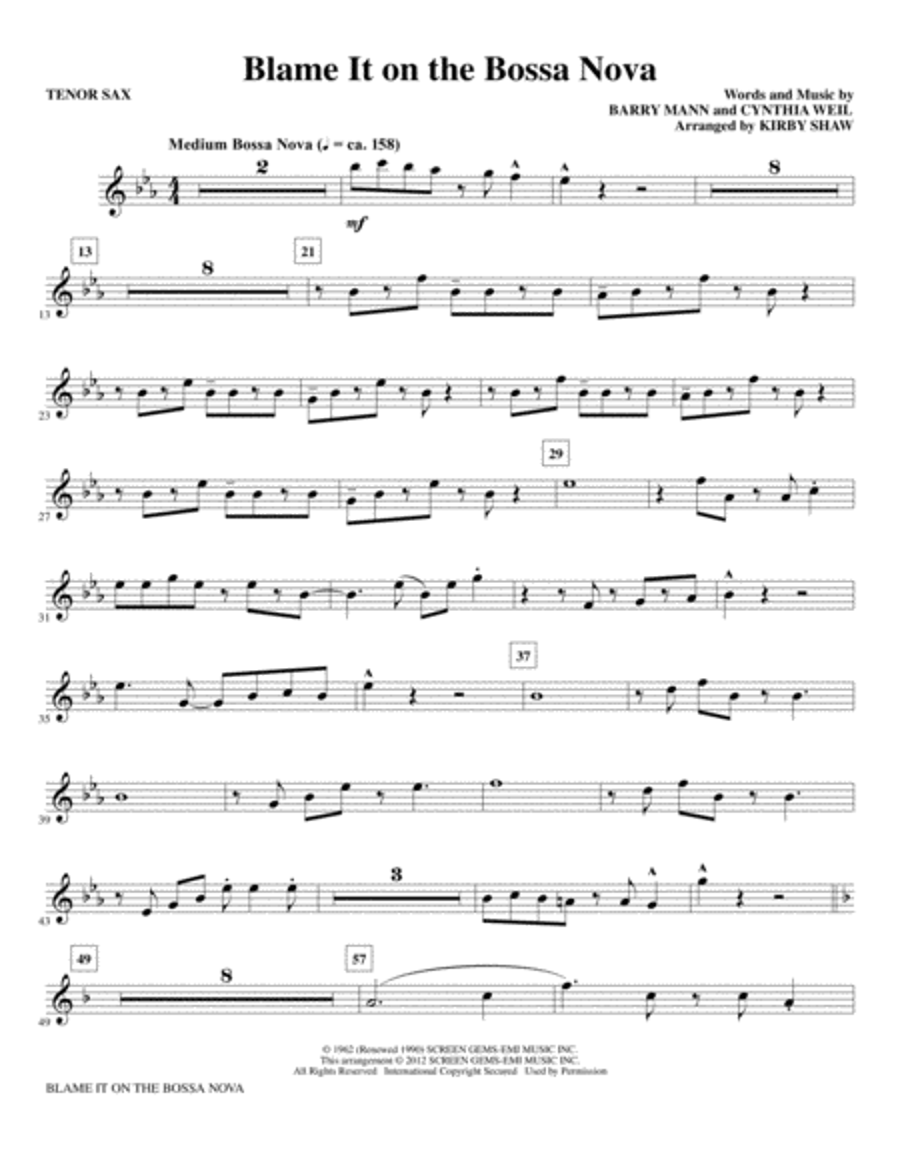 Blame It On The Bossa Nova - Tenor Saxophone