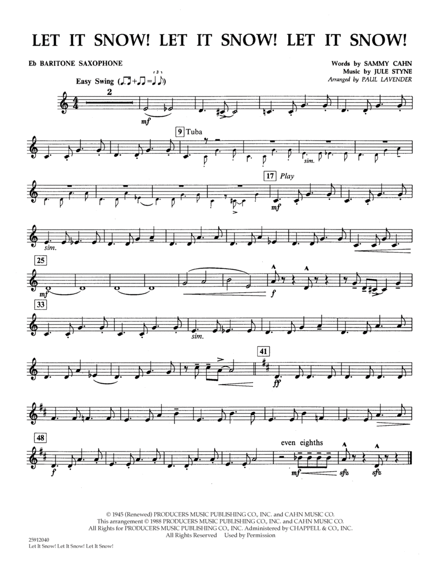 Let It Snow! Let It Snow! Let It Snow! - Eb Baritone Saxophone