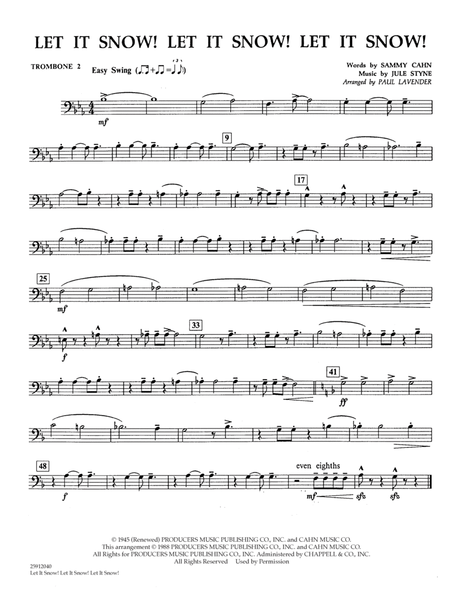 Let It Snow! Let It Snow! Let It Snow! - Trombone 2