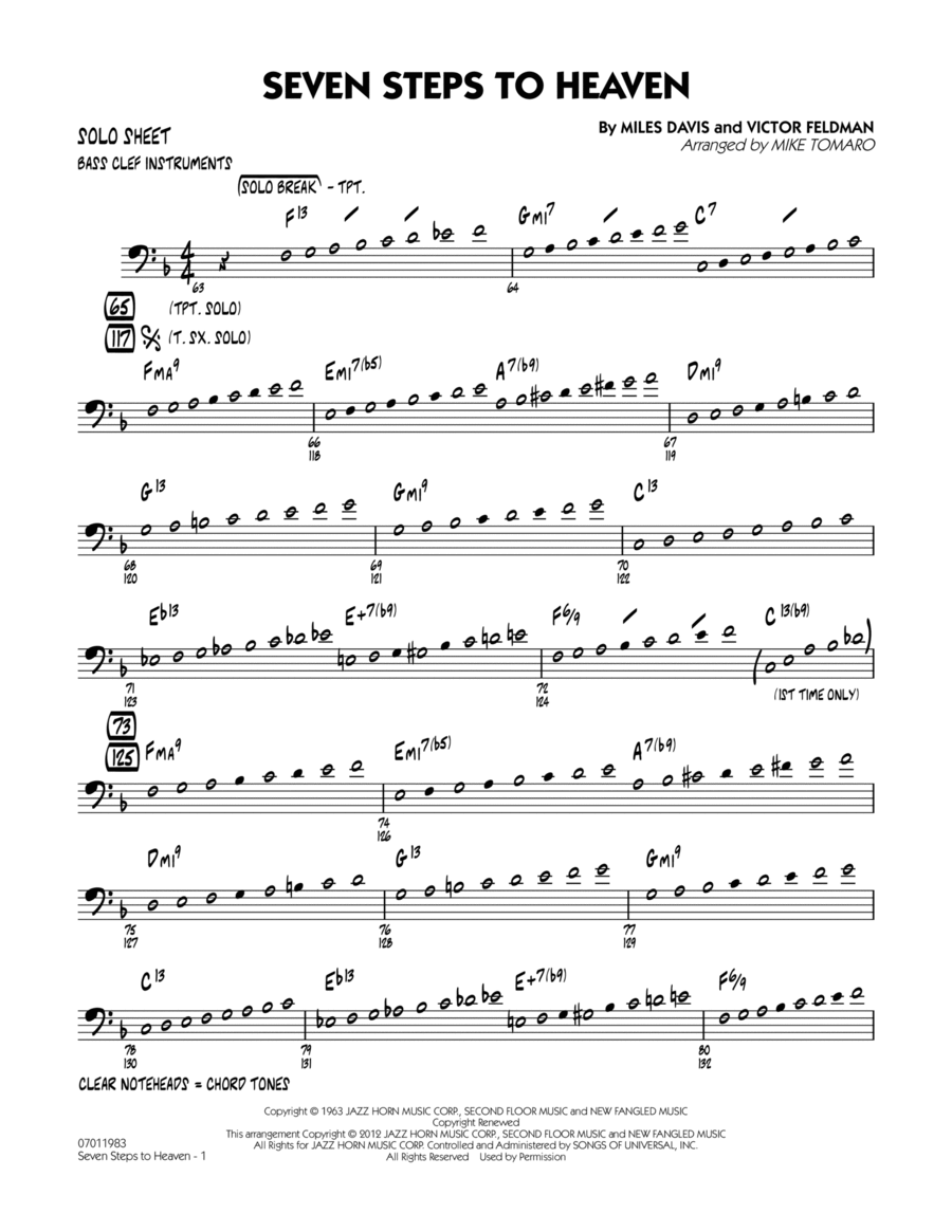 Seven Steps To Heaven - Bass Clef Solo Sheet