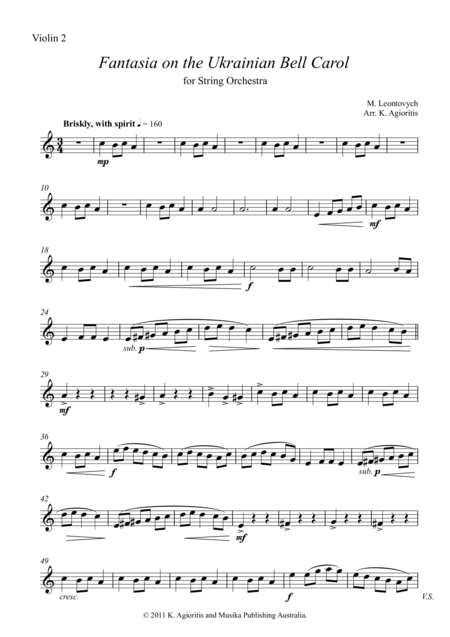 Fantasia on the Ukrainian Bell Carol - for String Orchestra - Set of Parts