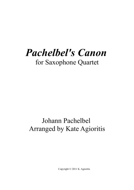 Pachelbel's Canon - in a Jazz Style - for Saxophone Quartet