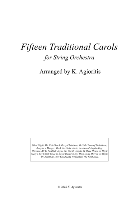 Fifteen Traditional Carols for String Orchestra - Score