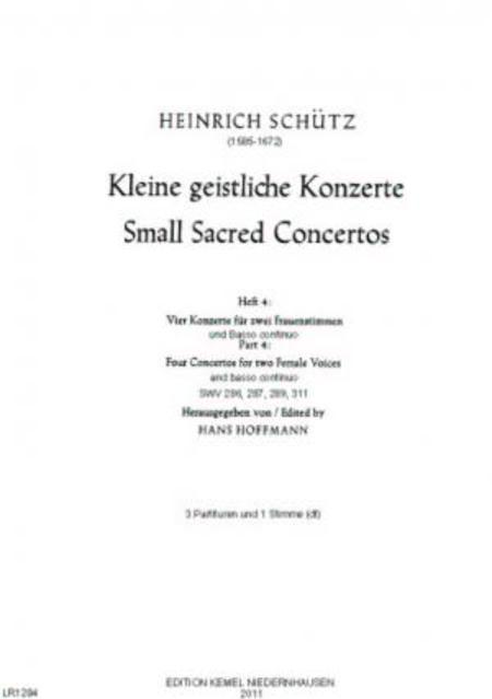 Vier Konzerte : fur zwei Frauenstimmen und Basso continuo, SWV 286, 287, 289, 311