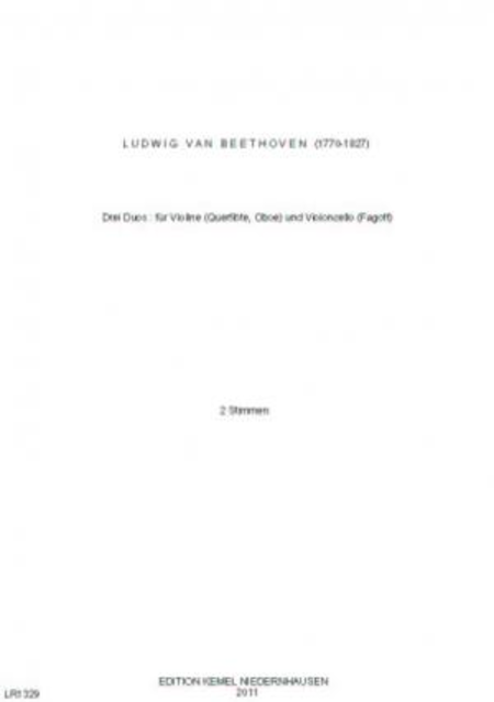 Drei Duos : fur Violine (Querflote, Oboe) und Violoncello (Fagott)