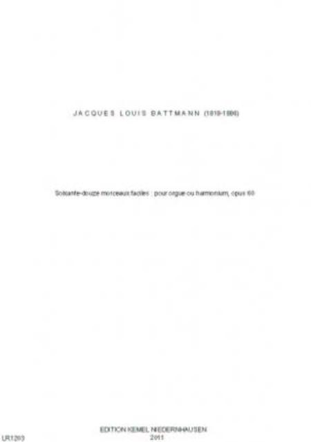 Soixante-douze morceaux faciles : pour orgue ou harmonium, opus 60