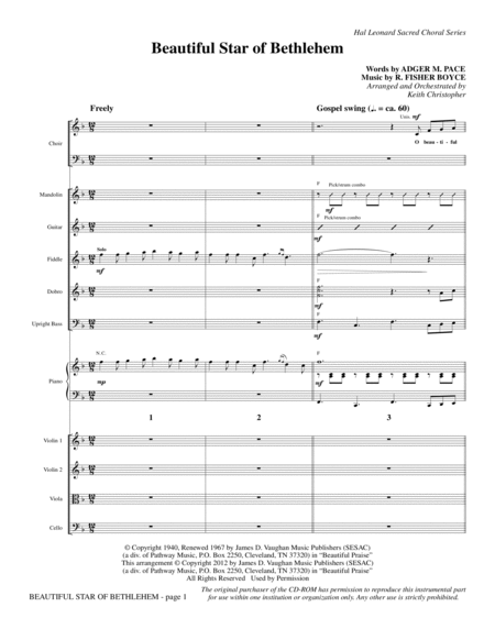 Beautiful Star Of Bethlehem - Full Score