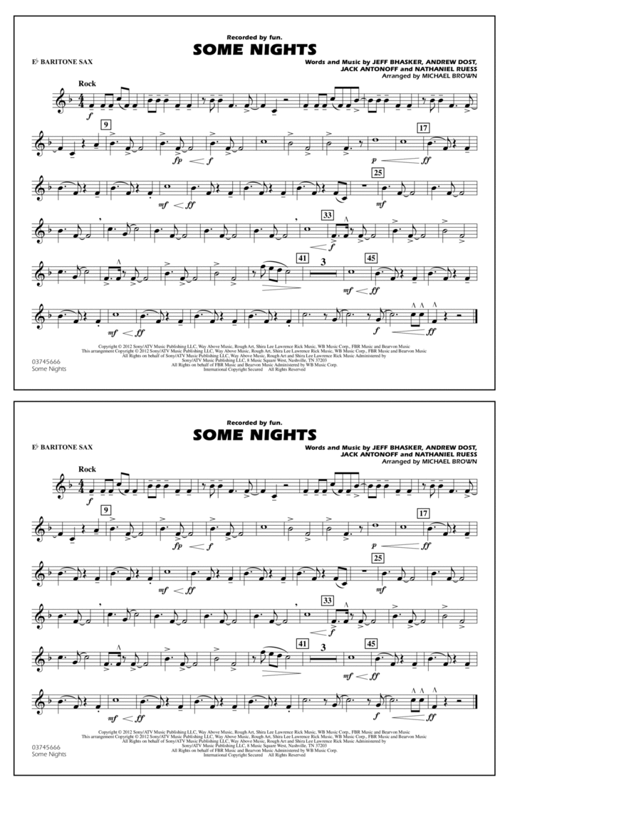 Some Nights - Eb Baritone Sax