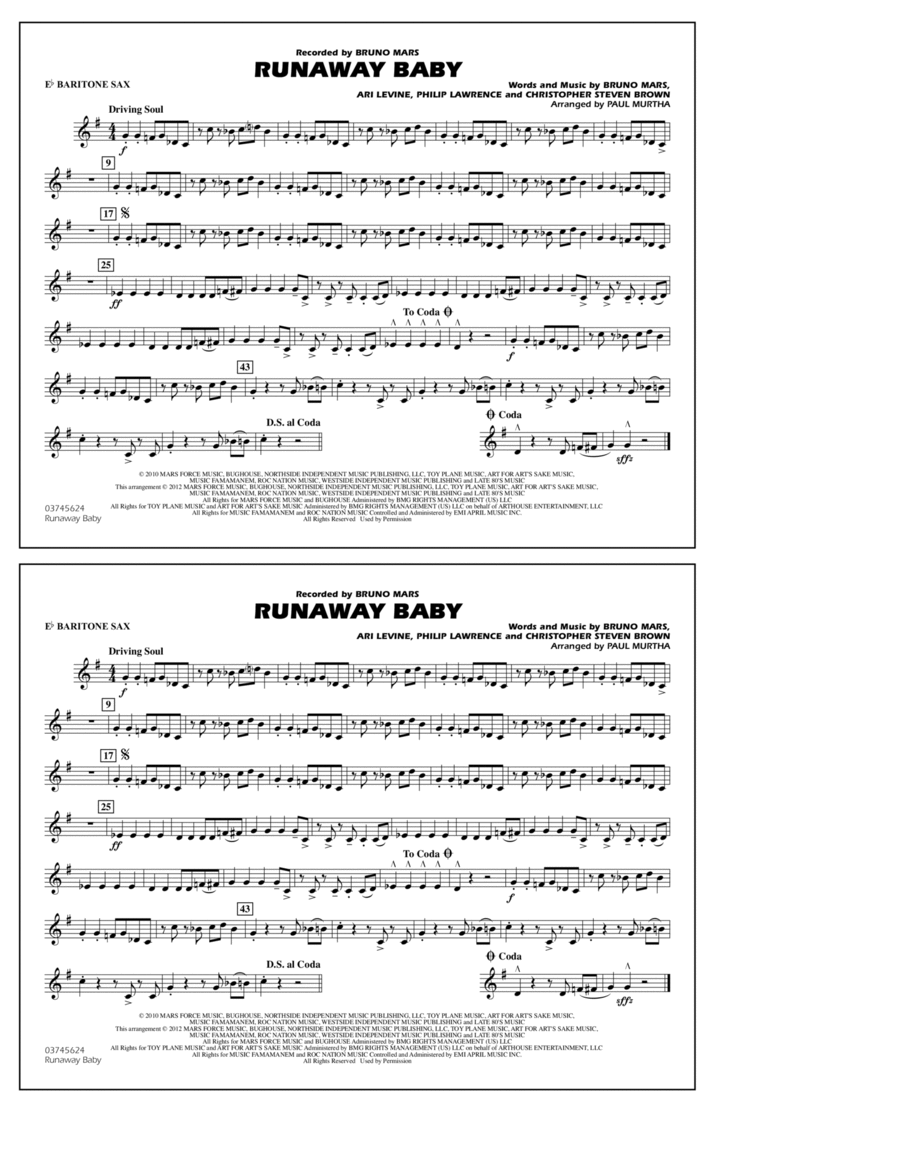 Runaway Baby - Eb Baritone Sax