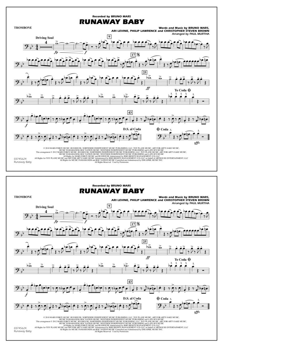 Runaway Baby - Trombone
