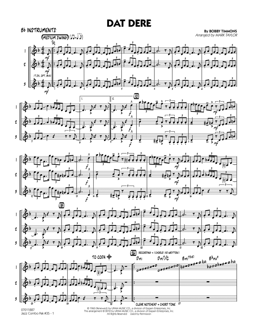 Jazz Combo Pak #35 (Cannonball Adderley) - Bb Instruments