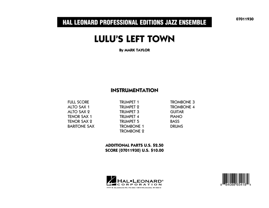 Lulu's Left Town - Conductor Score (Full Score)