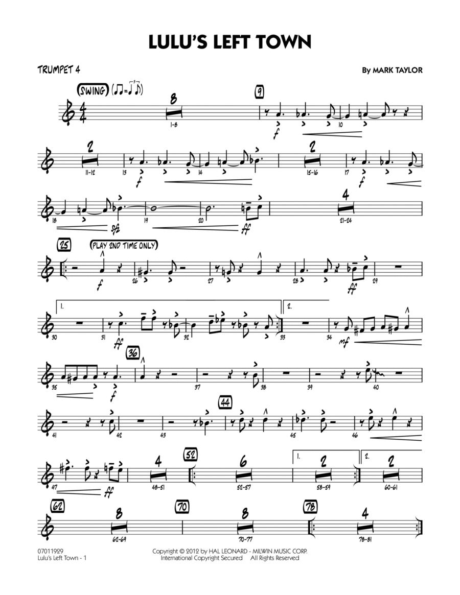 Lulu's Left Town - Trumpet 4