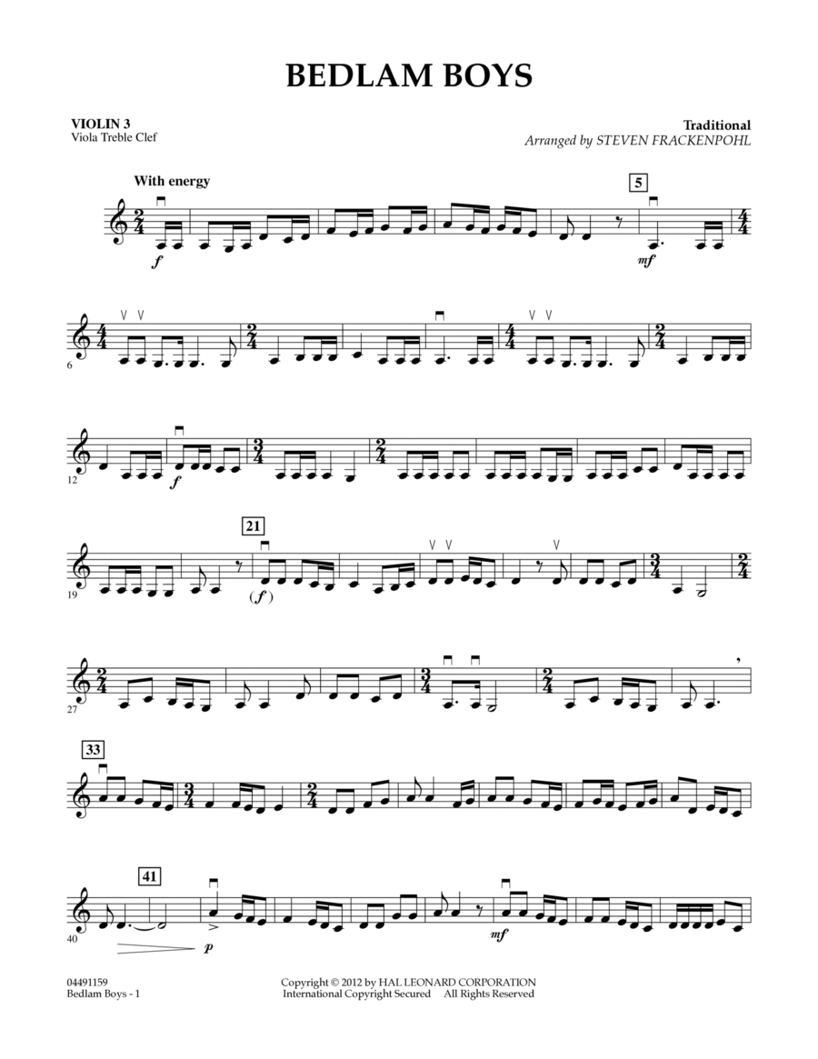 Bedlam Boys - Violin 3 (Viola Treble Clef)