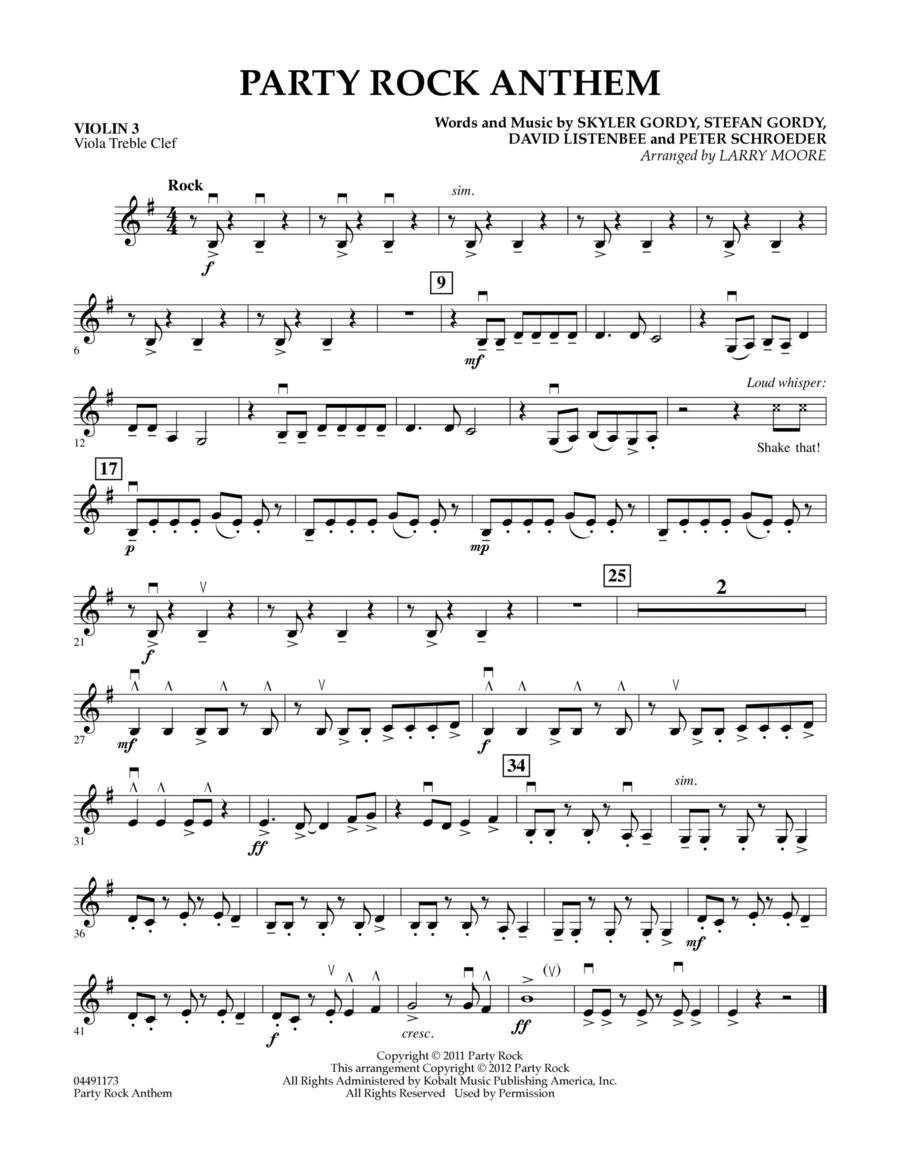 Party Rock Anthem - Violin 3 (Viola Treble Clef)