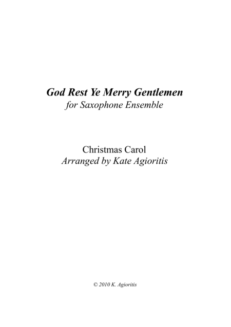 God Rest Ye Merry Gentlemen - for Saxophone Ensemble