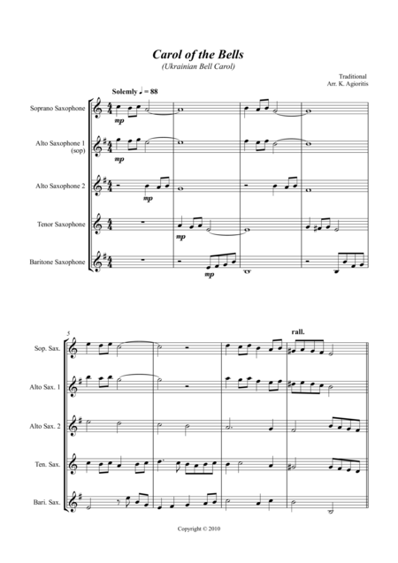 Carol of the Bells (Ukrainian Bell Carol) - Jazz Arrangement for Saxophone Quartet