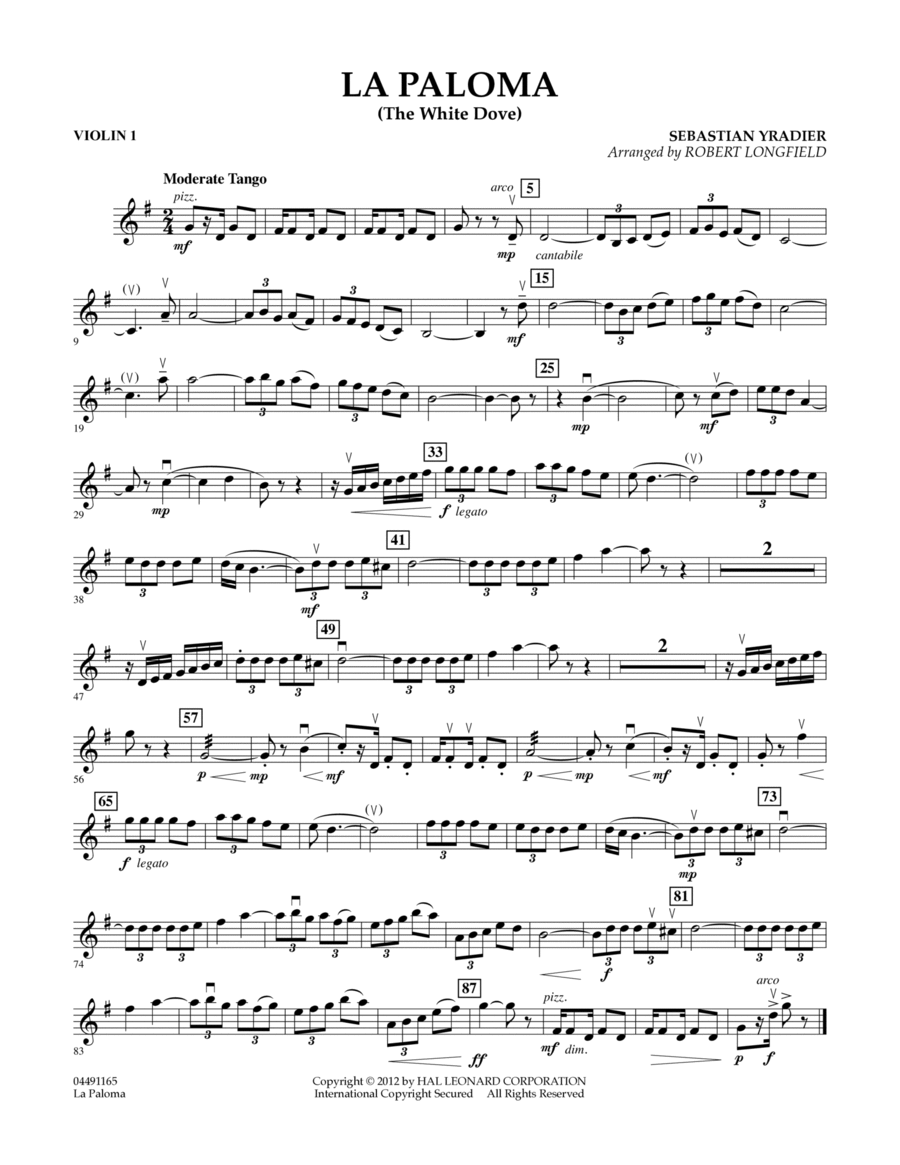 La Paloma (The White Dove) - Violin 1