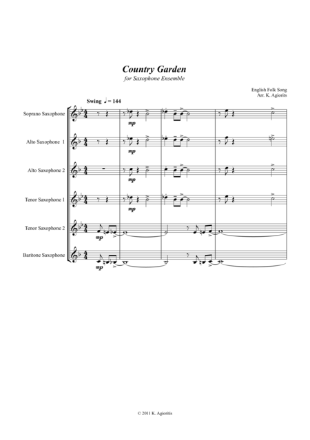 Country Garden - Jazz Arrangement - For Saxophone Ensemble