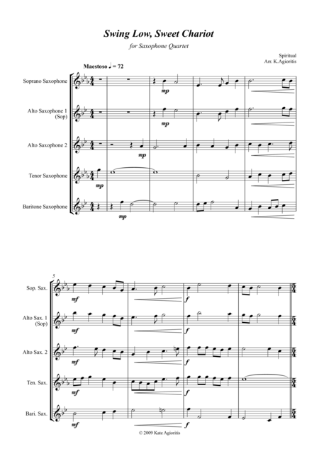 Swing Low, Sweet Chariot - a Jazz Arrangement - For Saxophone Quartet