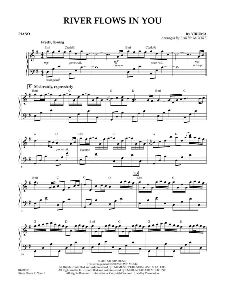 Yiruma River Flows In You Easy Piano Klaviernoten: Download River Flows In You - Piano Sheet Music By Yiruma - Sheet ,Chart