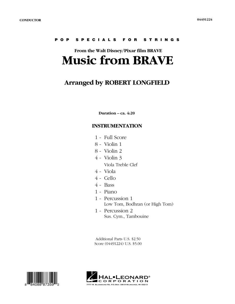 Music From Brave - Conductor Score (Full Score)