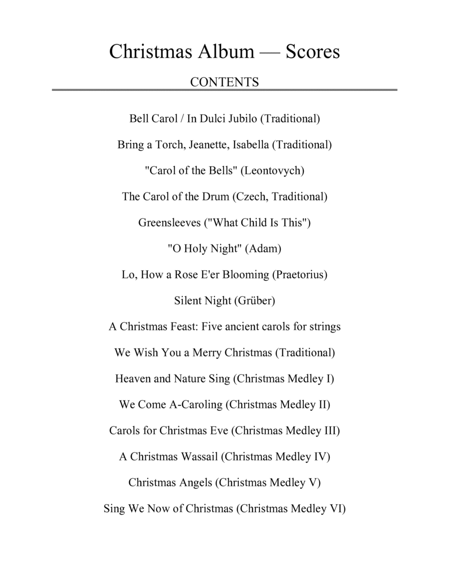Christmas Album for String Quartet: Scores