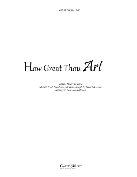 How Great Thou Art / Then Sings My Soul (Vocal Solo - Low)