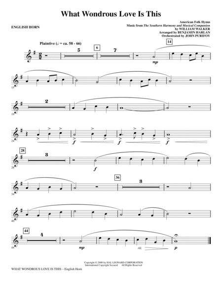 What Wondrous Love Is This (see Bonustrax 00102360) - English Horn