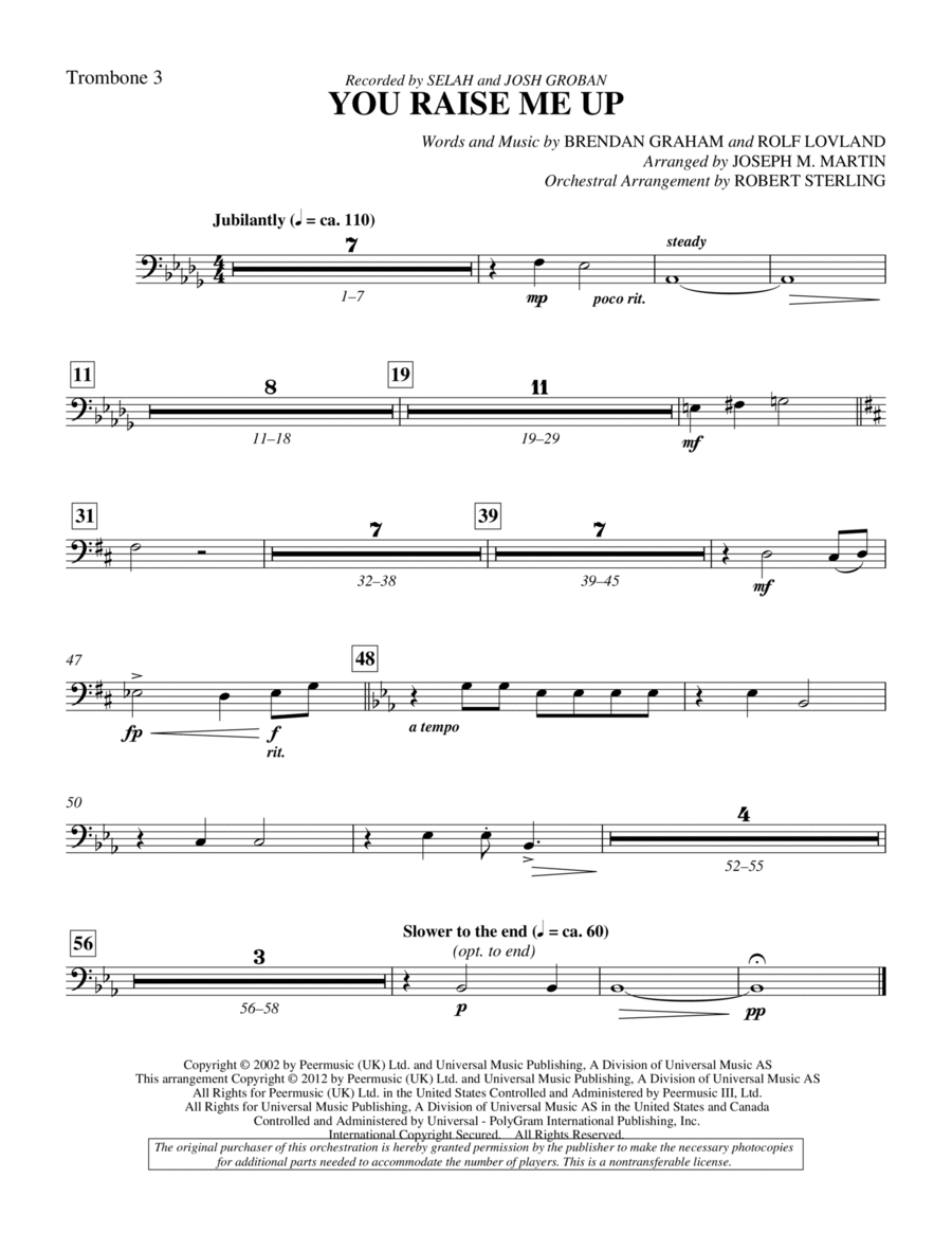 You Raise Me Up - Trombone 3