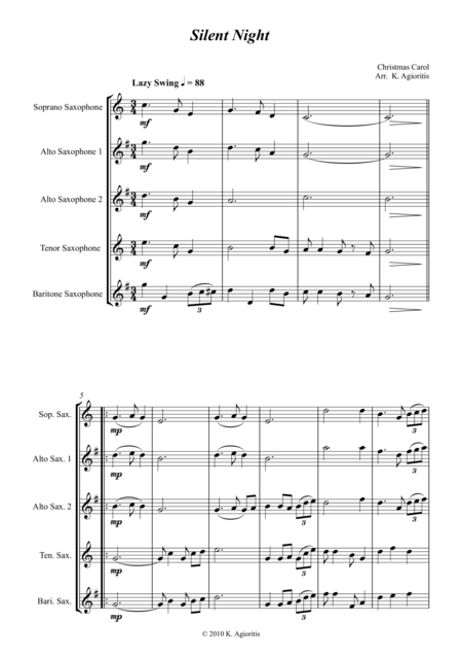 Silent Night - Jazz Carol for Saxophone Quartet