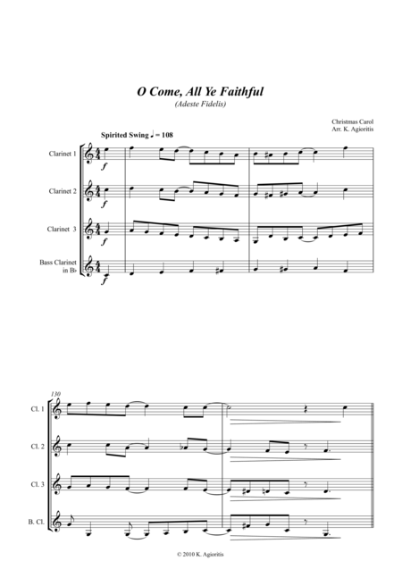 O Come All Ye Faithful - Jazz Carol for Clarinet Quartet