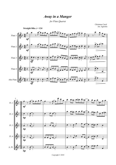 Away in a Manger - Jazz Carol for Flute Quartet