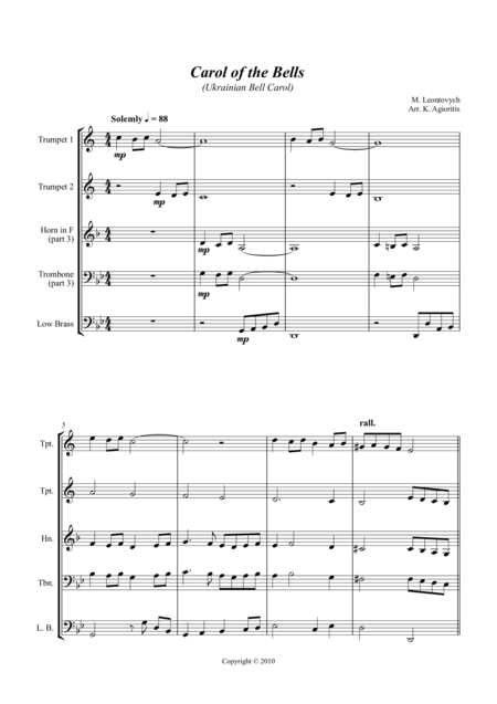 Carol of the Bells (Ukrainian Bell Carol) - Jazz Arrangement for Brass Quartet